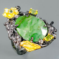 Handmade Natural Emerald 925 Sterling Silver Ring Size 9/R94382