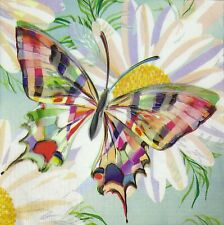 3 x Single Paper Napkins For Decoupage Craft Tissue Purple Green Butterfly M484