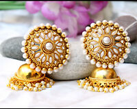 Indian Bollywood Traditional Gold Plated Pearl Jhumka Earring Set Support Chain