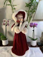 Christmas Motionette Girl Caroler in Red Velvet w/ Candle Animated & Musical VTG