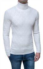 Pullover Dolcevita uomo bianco maglione slim fit invernale in lana e Cachemire
