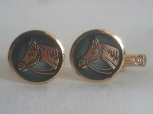 Vintage W.GERMANY Light Weight Rose Gold Horse Head Cufflinks