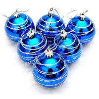6pcs Boules peint colore a rayures d'arbre de Noel du Diametre 6cm Ornement C9Q9