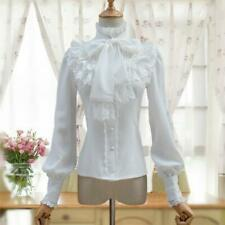 Womens Lolita Bowtie Lace Blouses Long Sleeve High Collar Party Shirt Slim Fit L