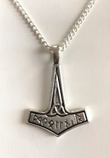 """VIKING THOR's HAMMER MJOLNIR Charm Pendant Necklace 20"""" Silver Plated chain Gift"""