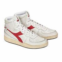 Diadora Heritage Scarpa Sneaker Unisex MI BASKET USED Bianco-Rosso