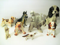 "Vtg Lot 9 Small Ceramic Porcelain 5"" Poodle Dog Figurines Spaniel Japan Shepherd"