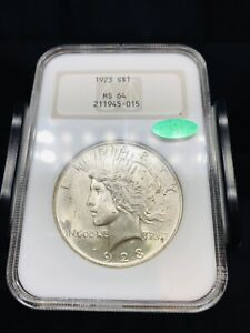 1923 Silver Peace Dollar NGC MS64 CAC Old Fatty Holder - Well Struck - Coin 3