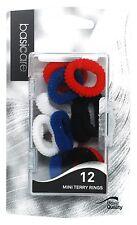 Basicare - Mini Elastic Terry Rings (Red/White/Blue/Black) (Pack of 12)