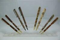 1 x Slimline Wood Turned Inlay Ball Point Twist Writing Pen Australian Hand Made