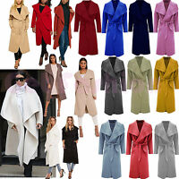 Women Italian Long Duster Jacket Ladies French Belted Trench Waterfall Coat 8-24