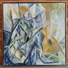 Vintage 60s 70s Cubist Figural Instrument Painting Mid Century Modern Signed