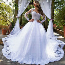 New Amazing Train Lace Applique Wedding Dresses Stunning Long Sleeve Bridal Gown