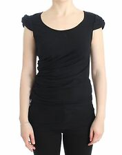 NWT $170 CLASS ROBERTO CAVALLI Black Cotton Tank Top Blouse T-Shirt IT46/US12