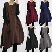 Womens Sleeveless Loose Midi Dress Pinafore Dress Plus Size Casual Plain Dresses