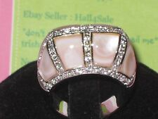 Sterling Silver Pink Mother of Pearl with  cz ?  Ring   Size 10  New in Box