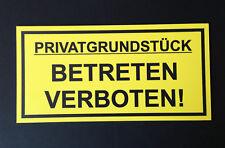 Privatgrundstück Schild Betreten verboten Unbefugte Zutritt Warnschild 15x30 cm