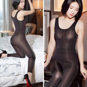 Sexy Women's Sheer Shiny Bodysuit Zipper Open Crotch Catsuit Clubwear Jumpsuit