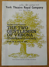 The Two Gentlemen of Verona programme York Theatre Royal Company 1975