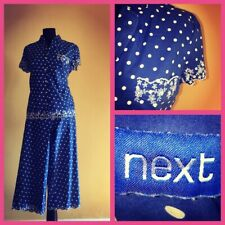 Next blue & white spot embroidered cotton 3/4 elasticated waist pjamas size 12