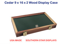 Cedar Wood Display Case 9 x 16 x 2 Glass Top for Arrowheads Knifes Coins & More