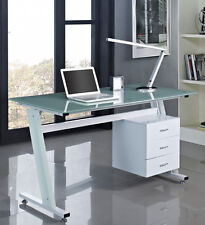 Computer Desk PC Table Office Furniture Work Station Glass Top and Sides Drawers