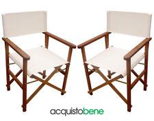 Coppia di sedie da regista sedia pieghevole in legno Meranti e tessuto Ecrù