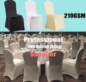 210 GSM White Black Chair Cover Spandex Lycra Folding Banquet Wedding Decoration