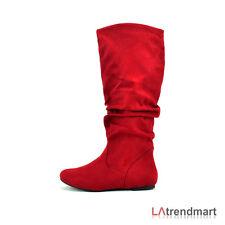 Women Round Toe Winter Casual Slouchy Knee High Flat Boots Faux Suede Soda Zuluu