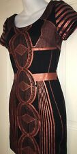 Kieu's☆Abstract☆Pattern☆BLACK☆Peach☆Metallic☆Zip-Up☆Fitted☆Dress☆Women's☆(SMALL)