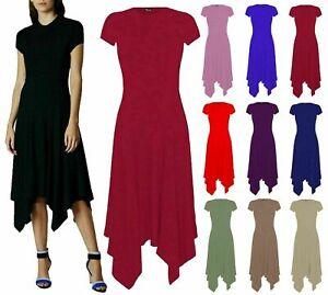New Ladies Women's Plain Cap Sleeves Summer Flared Hanky Hem Swing Dress 8 -26