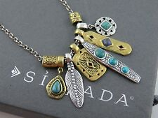 "NIB Silpada Sterling Brass Turquoise Lapis ""SHORE THING"" Necklace N3248 SOLD OUT"