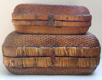 Lovely Large Antique Rustic Late Qing Dynasty Chinese Storage Baskets