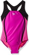 Speedo Girls Mesh Splice Thick Strap One Piece Swimsuit