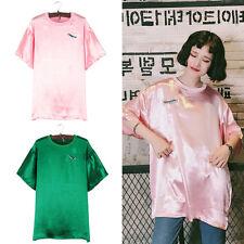 Women Harajuku Knife Embroidery Satin T-shirt Short Sleeve Loose Tops O Neck