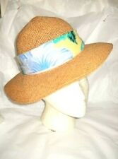 Sale! Vintage Straw Sun Picture Beach Hat Flower Scarf Band Woman Millinery