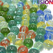100 X Glass Marbles Clear Coloured Marble Kids Toys Vintage Traditional Games