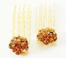 USA Mini Hair Comb Small using Swarovski Crystal Bridal Amber Yellow