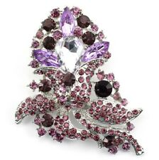 Elegant Wedding Bridal Broocn Pin Purple Fancy Austrian Rhinestone Crystal