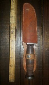 Vintage Imperial Providence R.I. USA Fixed Blade Knife With Leather Sheath