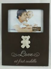 "New born theme ""love at first cuddle"" 4x6 wooden photo frame"