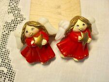2 Angel Christmas Pins By Fun World Division S. Lehman