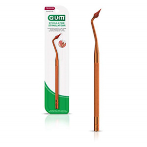 GUM Stimulator Permanent Handle with Rubber Tip, Precision Control, Massages