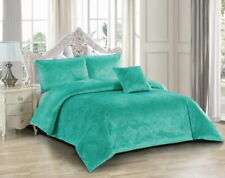 Amara Sea Green Quilt Cover Set by Georges Fine Linens. Embossed Damask Design