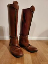 VINTAGE POLO BOOTS MEN'S 9 FRONT ZIP BROWN LEATHER..THE EFFINGHAM BY BOND BOOT
