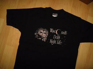 Wisconsin Dells Tee - Vintage 1980's American Vacation City Night Owl T Shirt Lg
