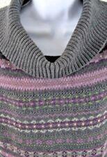 CHAPS Womens L COWL SWEATER Gray Purple Fair Isle Cotton Blend Short Sleeve