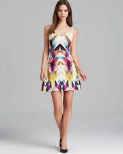 Nicole Miller Artelier Winnie Isosceles Sleeveless V Neck Printed Neoprene Dress