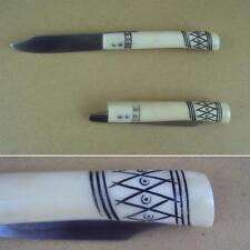 Hand Made Viking Pocket Knife - Cow Bone Handle High Carbon Steel Folding Blade