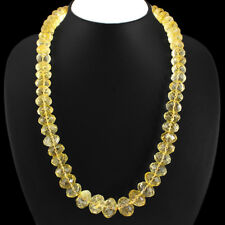 755.00 Cts Natural  Yellow Citrine Round Faceted Beads Single Strand Necklace